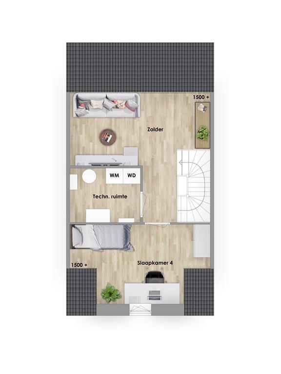 2e verdieping tussenwoning